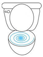 toilet with water swirling graphic drawing