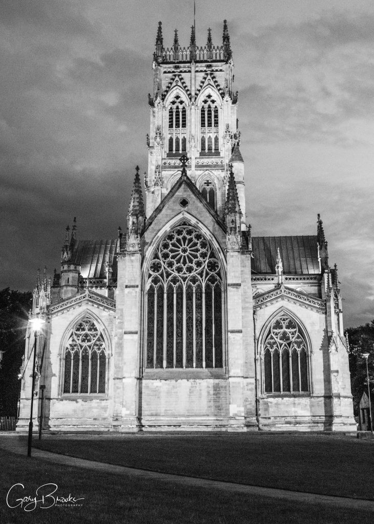 Doncaster Minster at night in Black and White