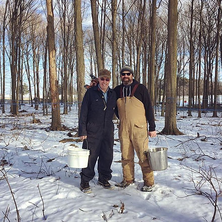 Alvin and Paul Brooks were out tapping maple trees today! Maple syrup season has begun!! #