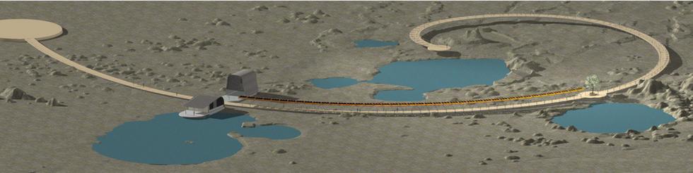 Full render view of boardwalk on geyser area