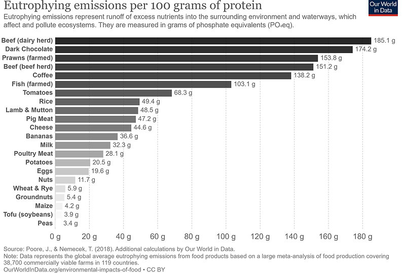 eutrophying-emissions-per 100 grams of protein-Our World in Data