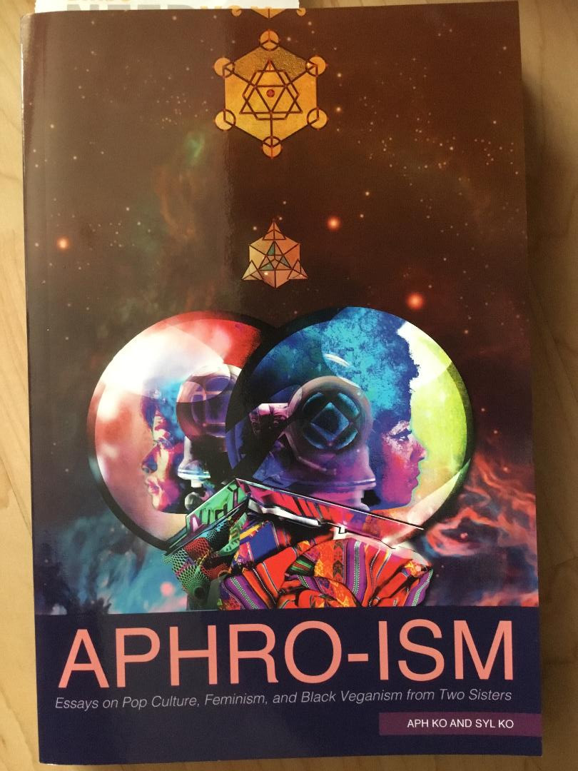 cover of Aphro-ism with a space theme. It features the faces of the Ko sisters in spacesuits and looking in opposite directions.]