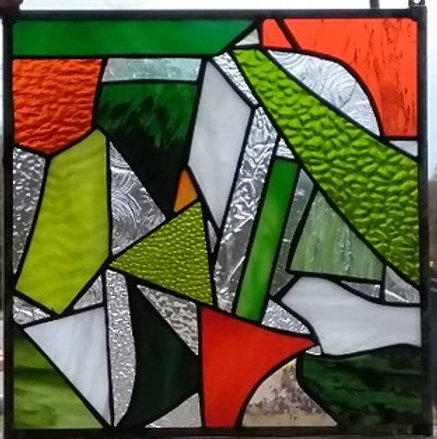 Retail Piece Orange And Green Abstract R 45