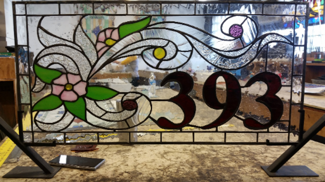 Elegant Clears And Flowers Stained Glass Address Marker Am 150 Terrazastainedglass
