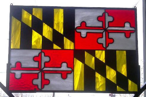 Stained Glass Panel / Sun Catcher / Maryland Flag (P-3)