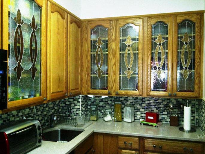 Ci 2 Elegant Stained Gl Custom Kitchen Cabinet Inserts