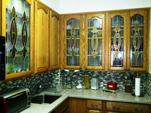 CI-2 Elegant Stained Glass Custom Kitchen Cabinet Inserts