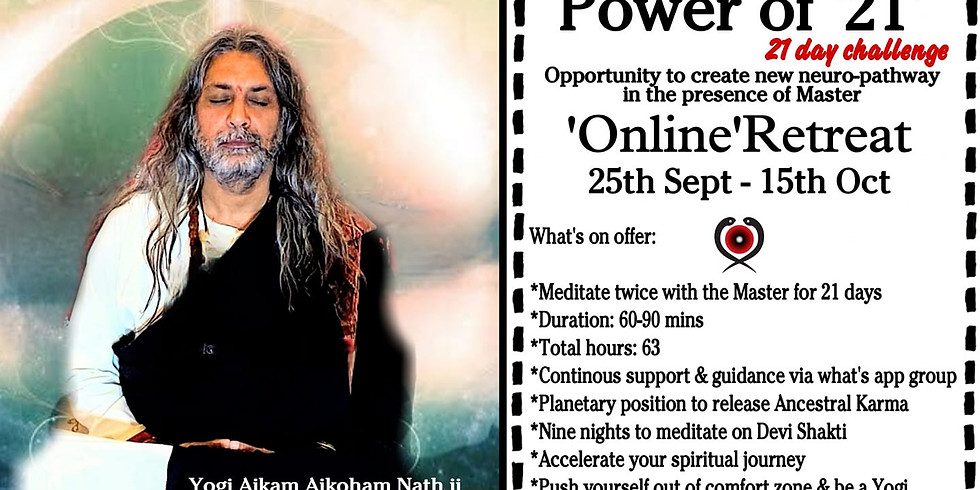 Zoom online  Power of '21' Meditate with the Master, 21day challenge