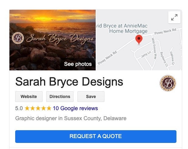 Sarah Bryce Designs Google My Business Profile