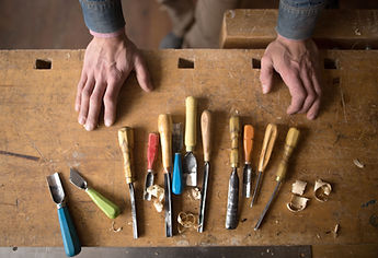 Carpenter's tools in a builder's workshop in Cardiff, South Wales