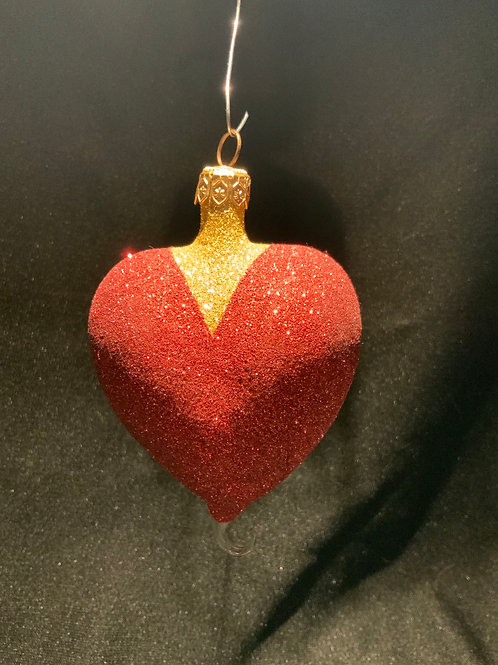 Vintage Glittery Heart Ornament