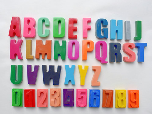 A - Z and number crayons (36 crayons in total)