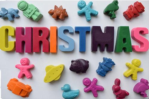 Christmas advent calendar CHRISTMAS plus 16 assorted crayons