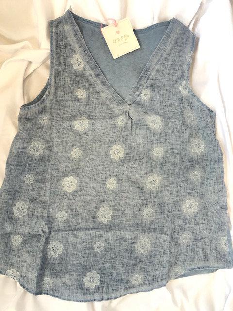Faded Denim Linen V-neck - Cotton Back
