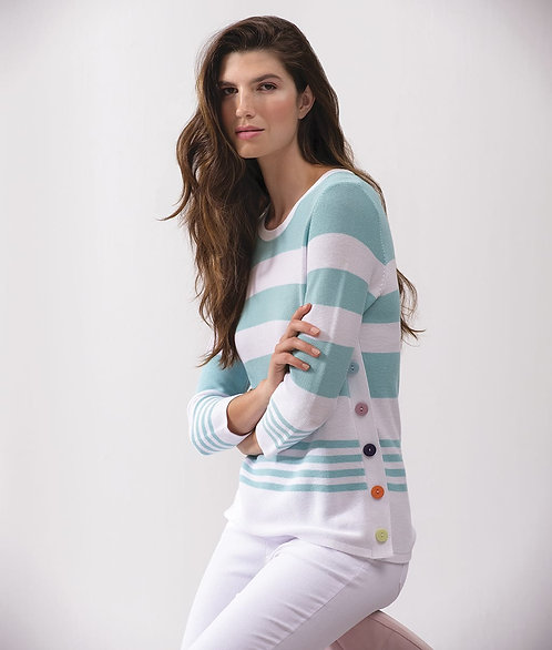 Teal- White Striped Sweater