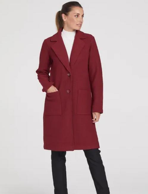 Burgandy coat in boiled wool