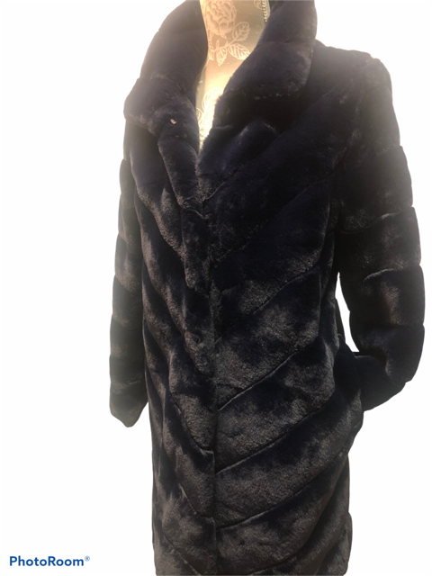 Navy Fun Fur with Side Pockets
