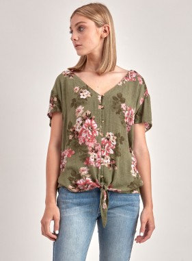 Khaki Floral Blouse