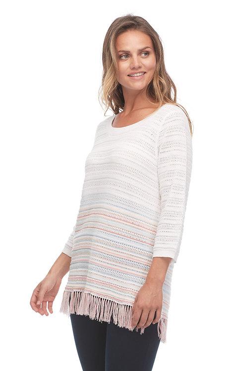 Soft Stripe Fringe Knit Sweater