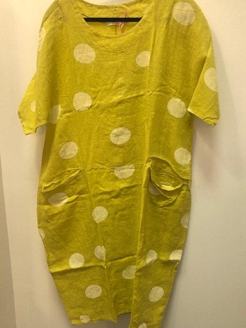 Mustard Linen Dress with Pockets
