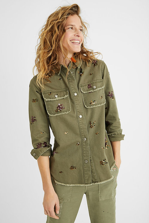 Cotton Jacket/Shirt with Sequins