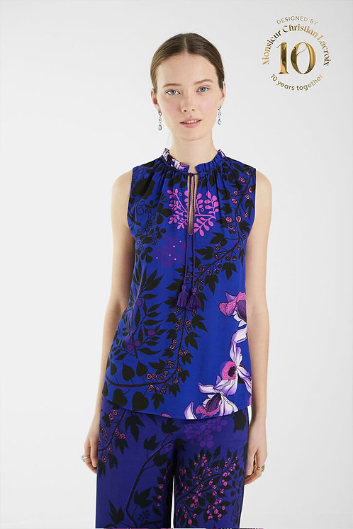 Print Blouse with Tie Neck