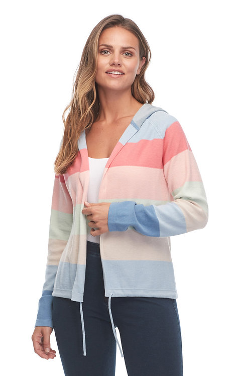 Rainbow Stripe Knit Hoodie