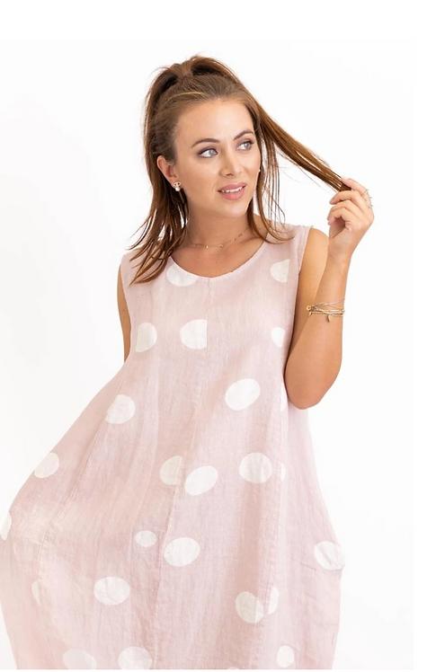 Linen Polka Dot Tank Dress