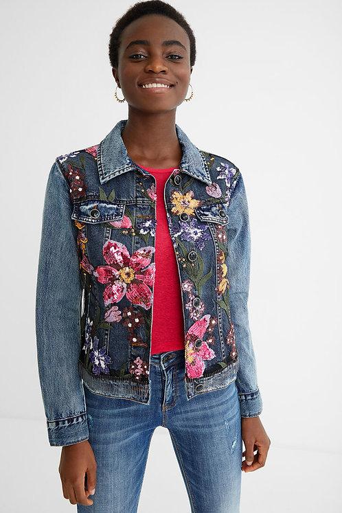 Denim Jacket Embellished with Jewels & Sequins