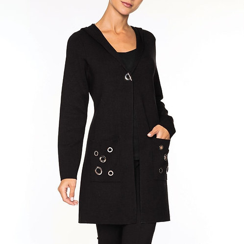 Black cardigan with grommets - pockets & hood