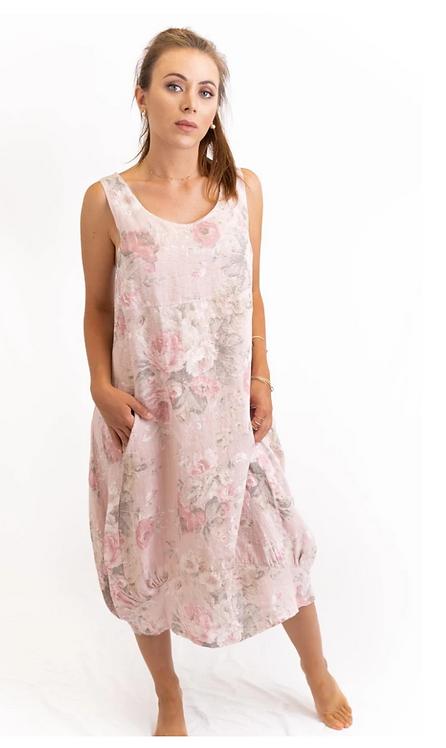 Vintage Rose Linen Dress