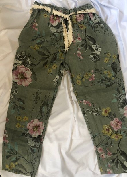 Linen Khaki Print Pant