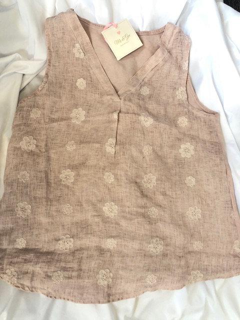 Pink Linen V-neck -Cotton Back