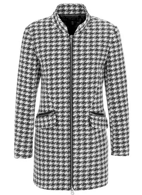 Houndstooth lightweight coat with zip pockets