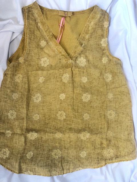 Pale Mustard Linen Top - Cotton Back