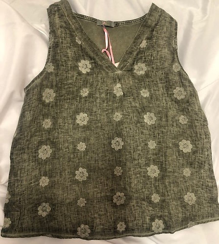 Khaki Linen V-Neck - Cotton Back