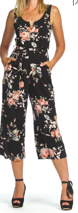 Floral Stretch Jumpsuit with Pockets