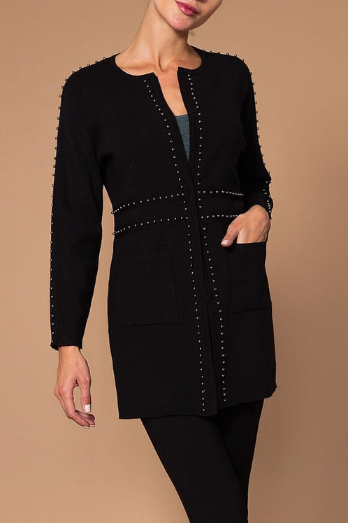 Cardigan with grommet accents & front pockets