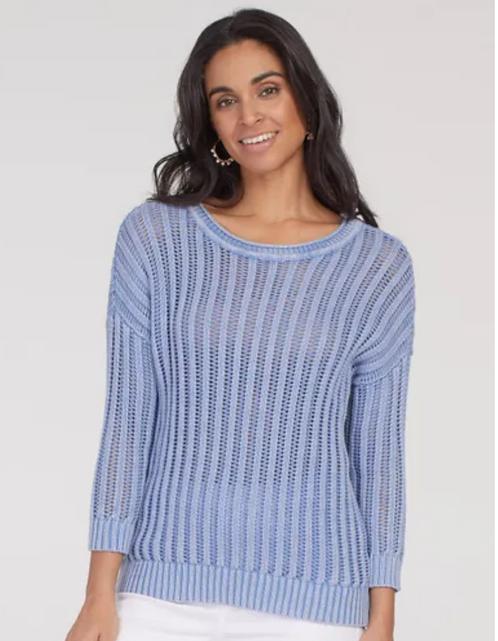 Cotton Open Rib Sweater-Blue
