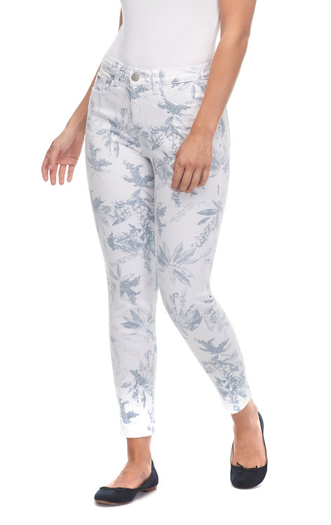 Jegging Cropped White-Steel BlueTropical Print