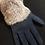 Thumbnail: Faux Suede Gloves with Rabbit Fur Trim