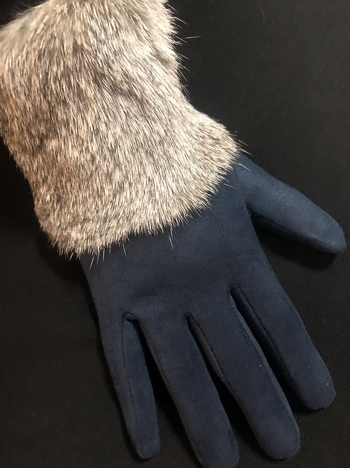 Faux Suede Gloves with Rabbit Fur Trim