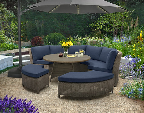 5pc Curved Aluminum Seating Group #27853 (Indigo Blue Fabric)