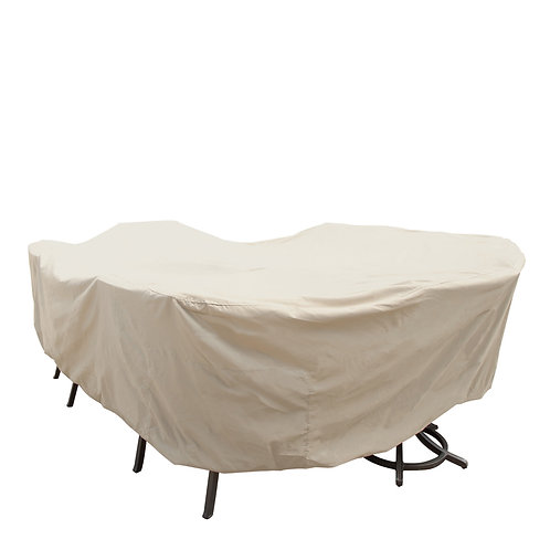 """Large Oval/Rectangle Table and Chairs Cover: 92″W x 128""""D x 36""""H"""