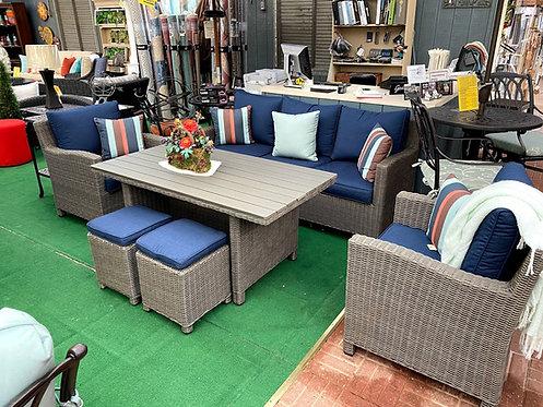 6pc Resin Wicker Seating Group #27823 (Indigo Blue Fabric)