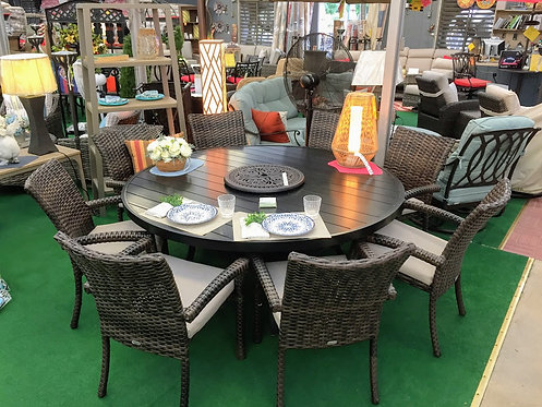 "9pc 72"" Round Resin Wicker Dining Set #32103"