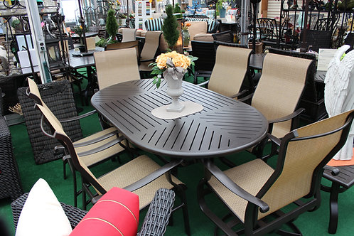"""7pc 76"""" Oval Sling Dining #29135"""