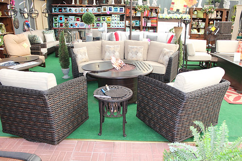 5pc Curved Resin Wicker Seating Group #28998