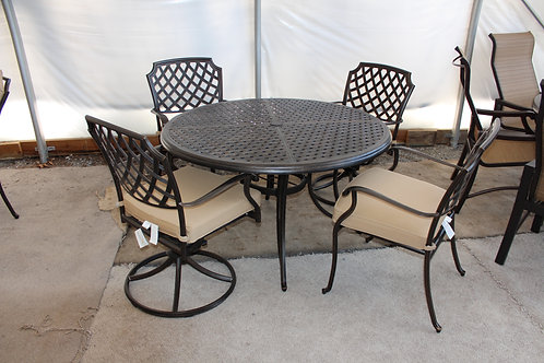 48in Round Cast Dining Set (4 Dining #32465) (2 Swivel/2 Dining #32466)