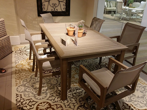 """7pc 73"""" Rectangle Faux Teak Sling Dining (With Swivels) #30761"""